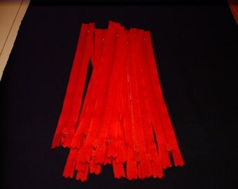 """8"""" Red ZIpper -- 0.01 shipping cost"""
