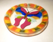 Handmade Fused Glass Butterfly Plate PRICE REDUCED