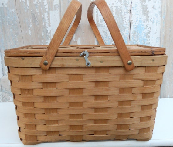 Picnic Basket Pie : Vintage new hampshire pie picnic basket by thegatheringbasket