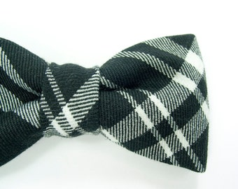 Men College black and white plaid bowtie - Baby, toddler boys tie tie Kids Clip-On Bow Tie