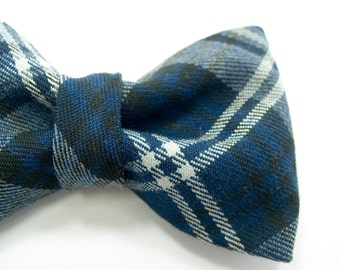 Men College blue and white plaid on wool bowtie - Baby, toddler boys tie Kids Clip-On Bow Tie