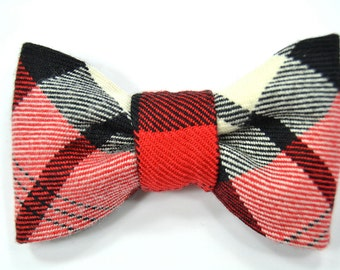 Men College Red, black and white plaid bowtie - Baby, toddler boys tie Kids Clip-On Bow Tie