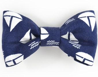 Men navy blue sailboats bowtie - Baby, toddler boys tie Kids Clip-On Bow Tie