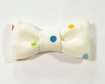 Men Kids Clip-On Bow Tie - Yellow, pink, blue and green dots bowtie - Baby, toddler boys tie