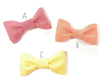 Men yellow, red and orange chambray bowtie - Baby, toddler boys tie Kids Bow Tie Choose One