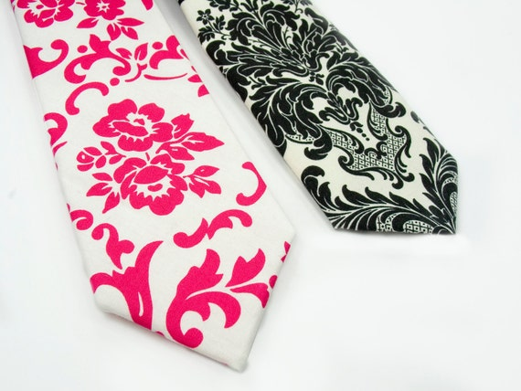 Kids NeckTie-Choose One- Pink and Black damask- Baby, toddler boys.