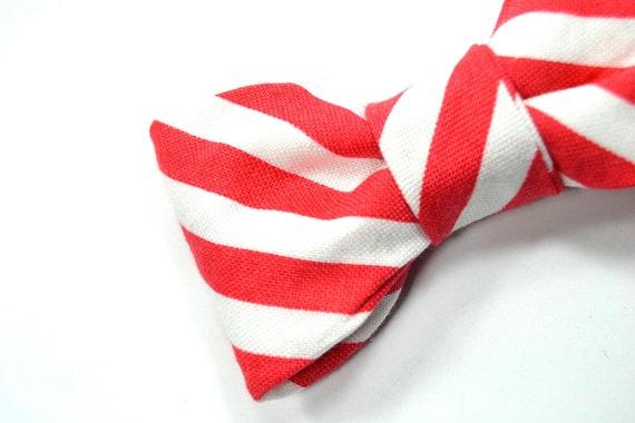 Men Valentine Day- Kids Clip-On Bow Tie - red white striped bowtie - Baby, toddler boys tie .