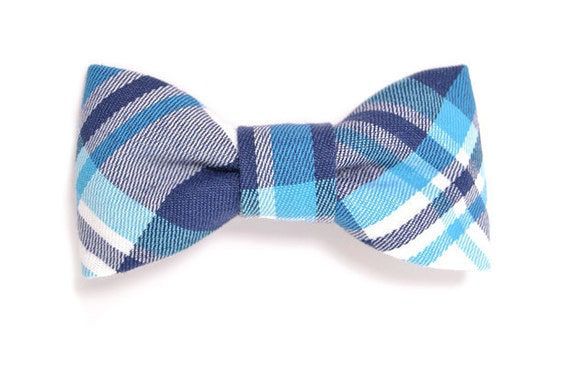 Kids Clip-On Bow Tie-Preppy plaid in shades of blue- Baby, toddler boys.