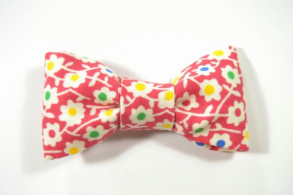 Men Valentine Day Kids Clip-On Bow Tie - red, yellow, green and blue flower bowtie - Baby, toddler boys tie