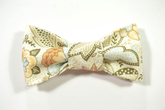 Men Kids Clip-On Bow Tie - gold and blue fower bowtie - Baby, toddler boys tie
