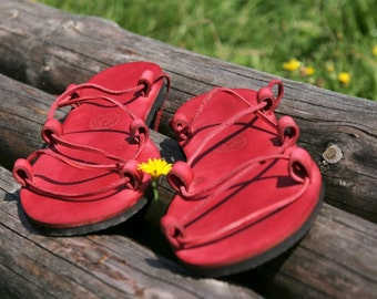 Jesus Leather Sandals Red