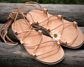 Jesus Leather Sandals Natural