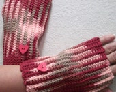 SPRING CLEANING SALE Pink red and tan Ribbed Fingerless Cotton Gloves With Hearts