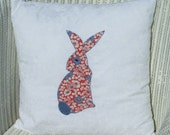 Crazy Daisy Rabbit - Off-White Cotton Cushion Pillow Cover with 1930s Floral Rabbit Design - Perfect for the Spring and Mother's Day