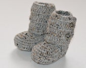 Crochet baby ankle booties in marble gray ( size 0-3m, 3-6m, 6-9m, 9-12m) --- available in different colors