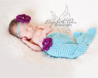 Mermaid Tail Cocoon Set -- Photography Prop, Baby Shower Gift, Photo Prop, Newborn Photo Session (Available in Different Color)