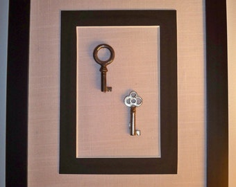 small antique keys, home wall art, unique, one of a kind, housewarming gift, shabby chic