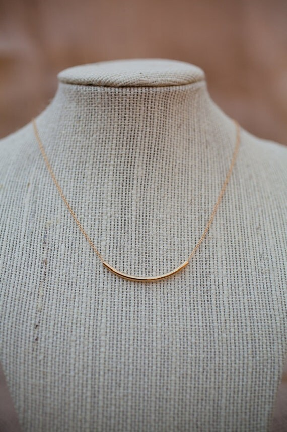 SIMPLICITY: Gold Chain Necklace with Gold plated curved tube bead