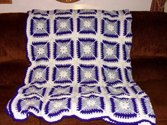 Purple,Silver, and White  Full Size Afghan