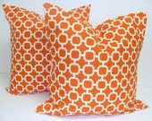 ORANGE OUTDOOR Pillows.SET Of Two. 18x18 inch.Pillow Covers.Decorative Pillow CoversOutdoor Pillow.Indoor.Outdoor.Orange Cushions.Cm.Squares
