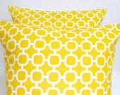 OUTDOOR YELLOW PILLOWS.Set of Two.16X16 inch.Decorative Pillow Covers.Outdoor Decor.Houswares.Indoor.Outdoor.Yellow.Bright.Sunny.Circlese