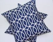 Indigo Blue Pillow.SET of TWO18x18 inch.Decorator Pillow Covers.Printed Fabric Front and Back.Linen Like Fabric