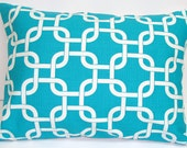 Pillow.Turquoise.12x16 or 12x18 inch Decorator Lumbar Pillow Cover.Free Shipping