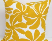 Outdoor Pillow.Golden Yellow.Indoor Outdoor.16x16 inch.Decorator Pillow Covers.Printed Fabric Front and Back