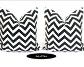 Black White Pillow.Printed Fabric Front and Back. Pillow Set of Two.16X16 Inches.Chevron.ZigZag.Black.White.Pillows