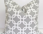 Gray Pillow.14x14 inch.Pillow Cover.Printed Fabric Front and Back