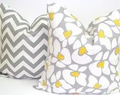 Pillows.Free Shipping.Set of Two.Gray and Yellow.18x18inch Decorator Pillow Covers.Fabric Front and Back