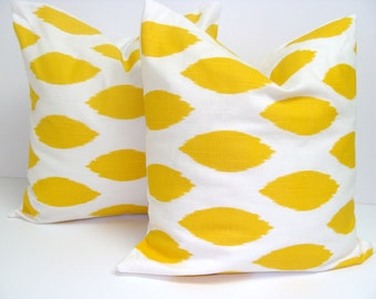 YELLOW PILLOWS SET of Two.18x18 inch.Decorative Pillow Cover.Home Decor.Housewares.Yellow Pillows.Cushions.Yellow Decor.Yellow.Ikat