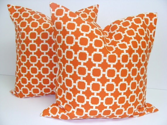 ORANGE OUTDOOR Pillows. SET of Two. 20x20 inch.Pillow Covers.Decorative Pillows.Outdoor Covers.Orange Outdoor Pillow Covers.Cushions.cm