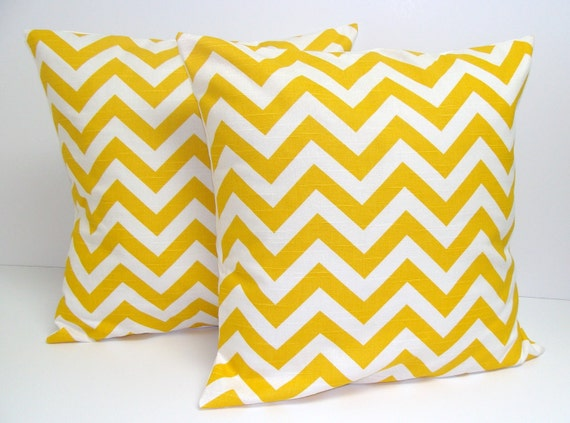PILLOWS.YELLOW.Set of Two.18x18 inch.Pillow Covers.Decorative Pillows .Throw Pillow Covers.Housewares.Home Decor.ZigZag.Bright Yellow Pillow