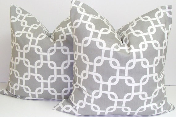 GRAY PILLOWS.SET Of Two.16x16 inch.Pillow Cover.Decorative Pillows.Grey Pillows.Gray Pillows.Throw.Set.Chainlink.Geometric.Grey Cushion.Cm