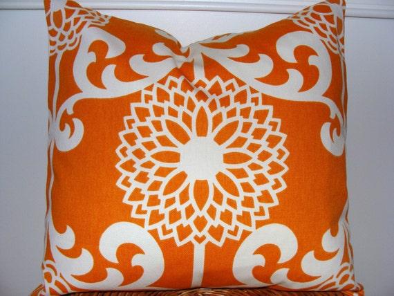ORANGE PILLOW.FLORAL Sale.18x18 inch.Pillow Cover.Decorative Pillows.Throw Pillow Cover.Orange Flower.Floral Pillow.Housewares.Home Decor.cm