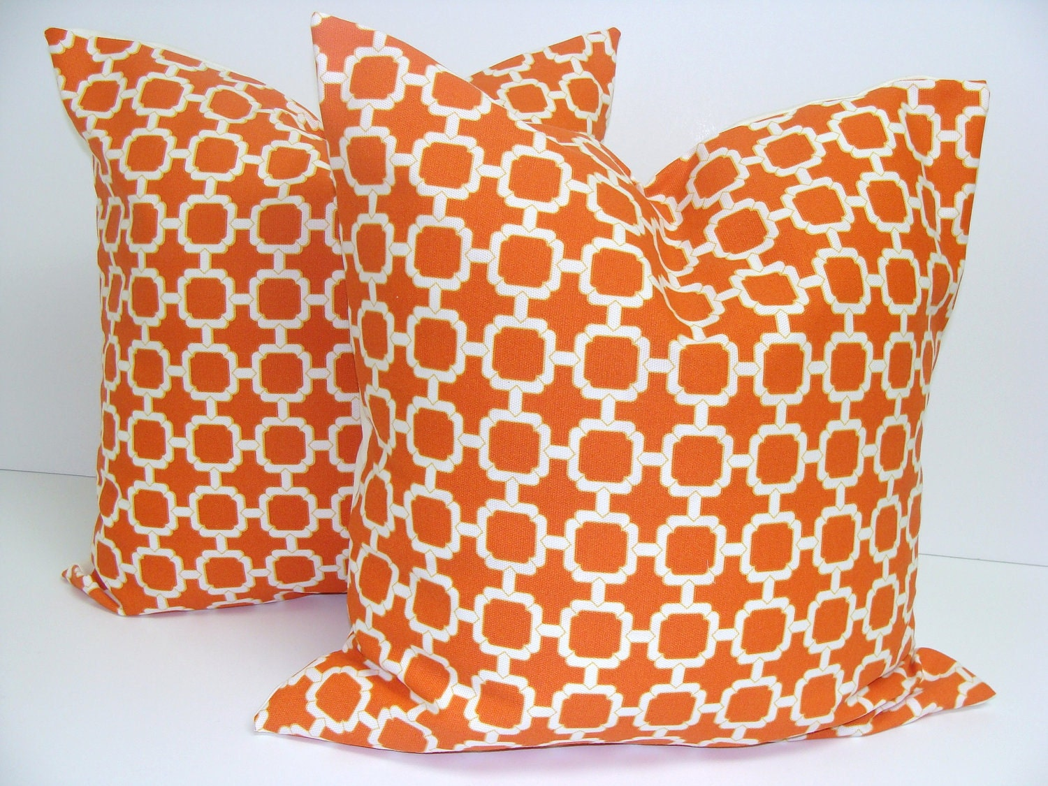 Etsy Throw Pillow Sets : Accent Pillows.Orange.SET OF TWO 18x18 inch.Free Shipping