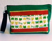 Urban  Zipper Wristlet Bag-Japanese frog with green and red accents. Hand stitching. Ipad, Wallet, Diaper Bag