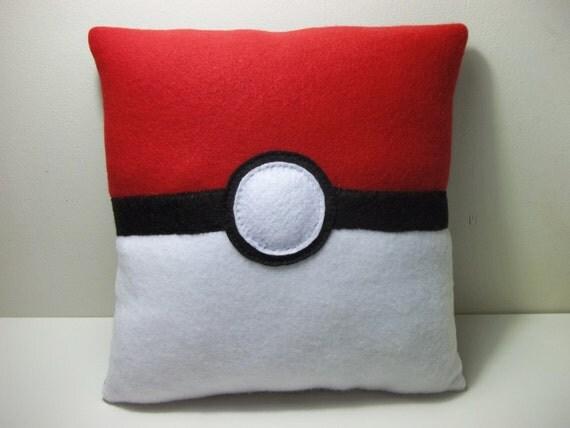 Pokemon Inspired Pokeball Fleece Pillow - MADE TO ORDER