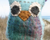 Upcycled from felted wool Owl hand puppet babies toddlers OOAK