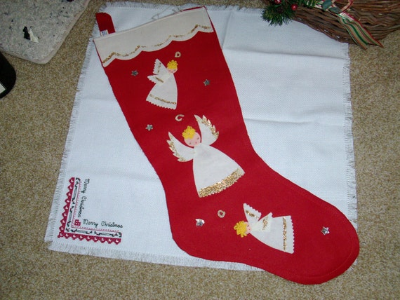 Vintage Red Felt Christmas Stocking With Three Angels