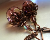 Rose Pink Glass with Antique Copper Earrings