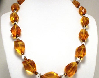 Citrine and Sterling Silver choker style necklace