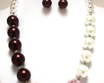 Glass garnet and ivory glass pearls with pink faceted glass and sterling silver beaded necklace