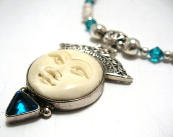 Carved bone sterling silver pendant with zircon gemstone necklace