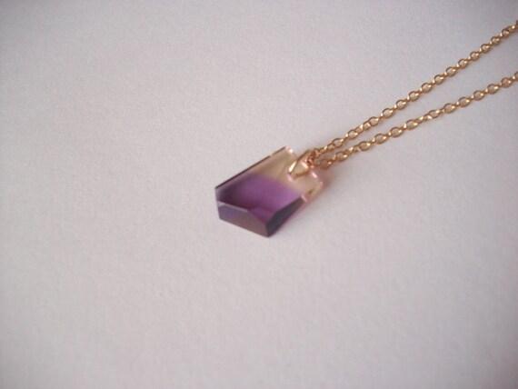 Artisian Gem Genuine PreciousGemstone Ametrine Bi-Colored Amethyst Citrine Quartz/Gold Filled Necklace