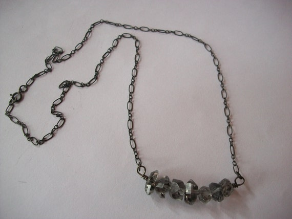Black White Herkimer Diamond Necklace/Oxidized Sterling Silver