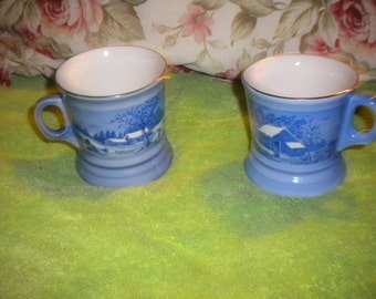 SALE.............Set of Currier and Ives Mugs,housewares,collectable,home decor,kitchen,decorative mugs,cottage,cottage chic