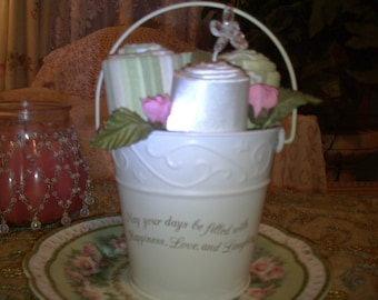 SALE.....Oh so shabby little bucket,cottage,cottage chic,boudoir,bathroom decor,french country,victorian,upcycled bucket,home decor
