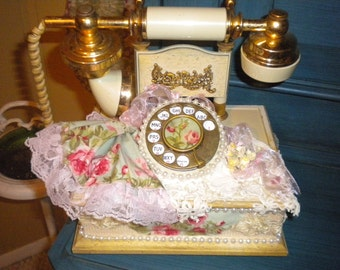 SALE....OOAK 1970's Princess Shabby Chic Telephone, French country,Cottage chic,Boudoir Telephone